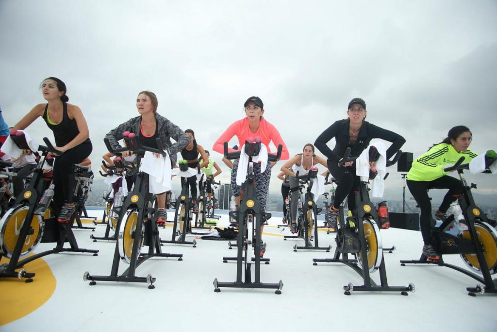 This Fitspin class took place on a helipad in Mexico City.